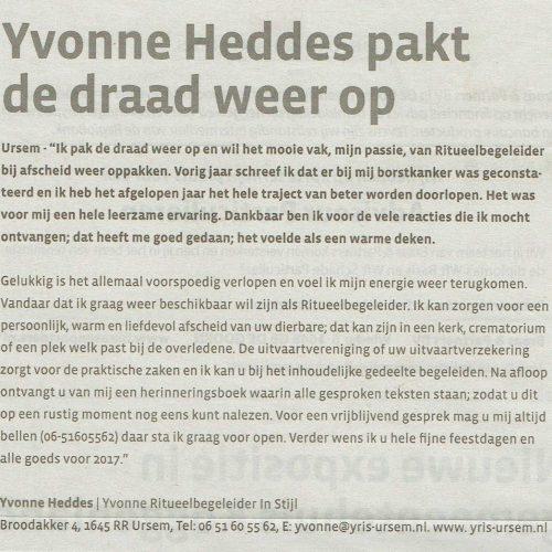 Yvonne Heddes pakt de draad weer op